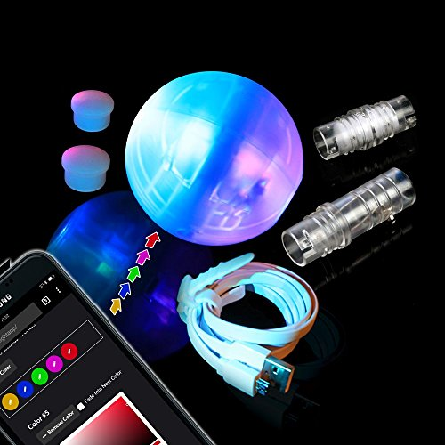 LED Juggling Ball with Lifetime Warranty for Beginners\Professionals - The Night Circus Light Show - Turns to Poi, Staff, Flower Stick \ Modular Juggling - 2 Smart Programmable Brains by - Led Juggling Balls