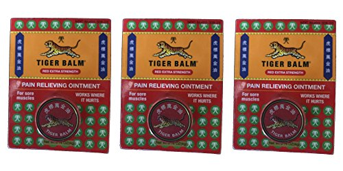 Tiger Balm Red Pain Relieving Ointment (Pack of 3) with Camphor, Menthol, Cajuput Oil, Eucalyptus Oil, Clove Oil and Cassia Oil, 4g (Menthol Camphor Ointment)