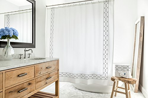 - Southampton | Luxury Grey & White Shower Curtain | Elegant Jacquard Fabric Shower Curtain | Classic Look | Heavy Weight | Mildew Resistant | 72 x 72 Bath Shower Curtain