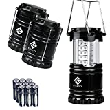 Compra Etekcity 3 Pack Portable Outdoor LED Lantern with 9 AA Batteries - Camping Friendly (Black, Collapsible) en Usame