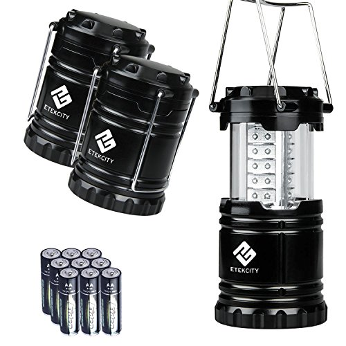 Etekcity Portable LED Camping Lantern with 9 Batteries - Survival Kit for Emergency, Hurricane, Power Outage (Black, Collapsible) (3 Pack) by Etekcity