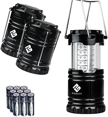 Etekcity 3 Pack Portable Outdoor LED Lantern with 9 AA Batteries - Camping Friendly (Black, Collapsible)