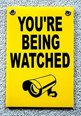 "1 Pc Credible Unique You're Being Watched Sign Security Board Surveillance 24Hr Message Fence Property Warning Doors Under Cameras Protected Video Hr Reflective Decals Size 8"" x 12"" w/ Grommets"