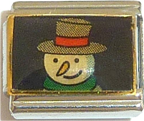 Snowman Green Scarf And Top Hat Italian Charm
