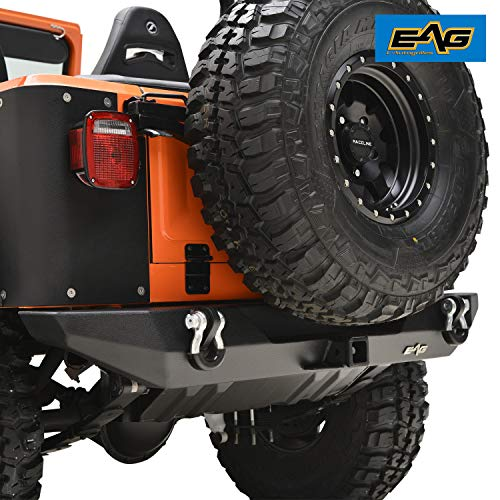 EAG Rear Bumper with D-ring & Hitch Receiver Fit for 76-86 Jeep Wrangler CJ (Aftermarket Bumpers Jeep)