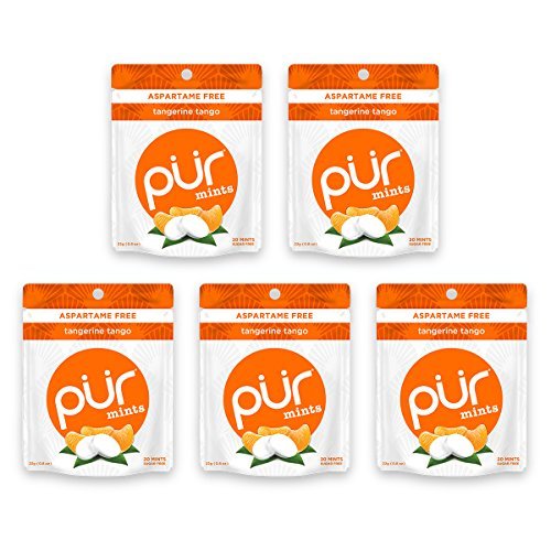 The PUR Company  | Sugar-Free + Aspartame-Free Mints  | 100% Xylitol  | Tangerine Tango | Vegan + non GMO  | 20 Mints per Bag (Pack of 5)