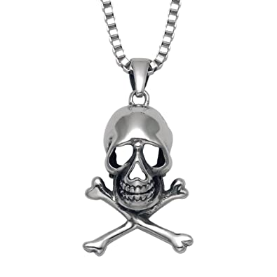 Amazon stainless steel skull crossbones pendant 20 box stainless steel skull crossbones pendant 20quot aloadofball Gallery