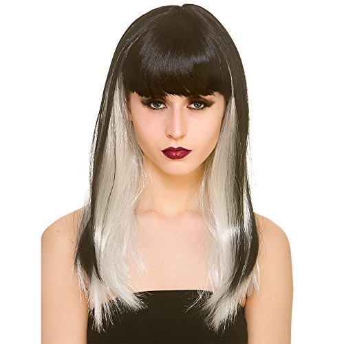 Black Wig White Accessory Dark Straight Fantasy Adults amp; Fancy Dress Halloween Ladies 7zIq6Bwp