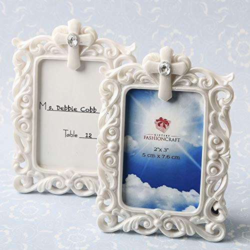 FavorOnline Baroque Style White Picture Frame with Cross Detail, 20