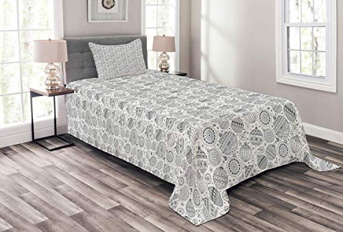 Lohebhuic Zentangle Bedspread Greyscale Pattern of Christmas Ornaments Balls with Simplistic Snowflakes Decorative Quilted 2 Piece Coverlet Set with Pillow Sham