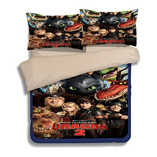 How to Train Your Dragon Kids Duvet Cover 2018 Bed Cover Heavy-Duty Flying Dragon 3-Piece Including 1Duvet Cover 2Pillowshams Full Size