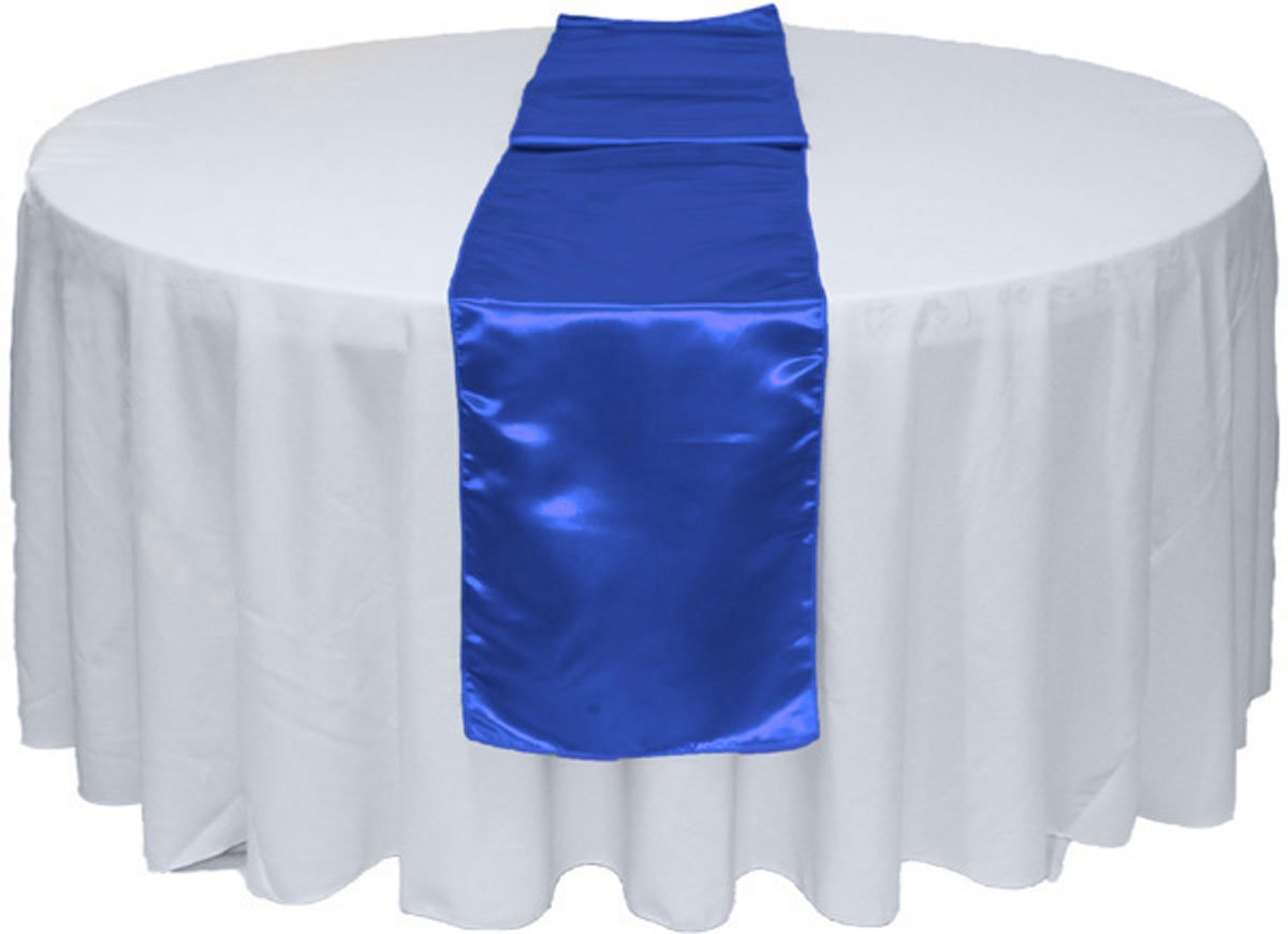 GWHome 12'' X 108'' Satin Table Runner for Wedding Party Banquet Rectangular and Round Table (1, Royal Blue)