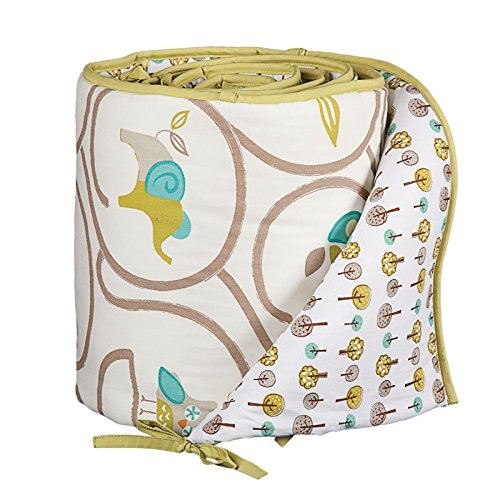 Lolli Living Animal Tree Bumper – Animal Tree – 100% Cotton Crib Bumper, Reversible Design, Comfortable Protective Padding With Secure Ties, Fits Standard Crib