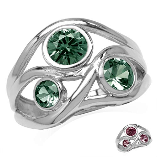 3-Stone Simulated Color Change Alexandrite White Gold Plated 925 Sterling Silver Ribbon Weave Ring Size 11