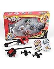 infinitoo Bey Battle Burst 4pcs Set with Launcher Speed Stater Grip Stater Metal Fight, Gold Evolution Battle Top Set Classic for Children Adult , 4 Tops + 2 throwers