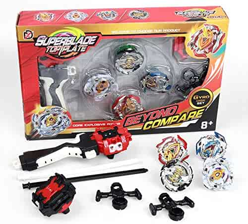 Bey Battle Blade Burst Turbo Top Blades Pauline bey Blade Innoo Tech Burst Evolution Combination Series 4D Set with Launcher and Arena Metal Fight Battle Fusion Classic Toys , 4 Tops + 2 throwers