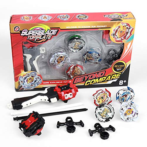 Bey Battle Blade Burst Turbo Top Blades Pauline bey Blade Innoo Tech Burst Evolution Combination Series 4D Set with Launcher and Arena Metal Fight Battle Fusion Classic Toys , 4 Tops + 2 throwers (Classic Ring Series Pull)