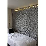 Wall Tapestry Mandala Tapestries Wall Decor Blanket Hippie Tapestry, Bohomein Art,bedsheet, Hippie Gypsy Wall Hanging, Picnic Blanket Age Dorm Tapestry (Black White, Twin)