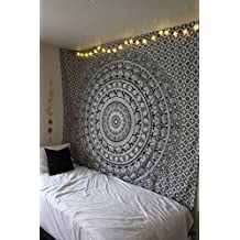 Wall Tapestry Indian Home Décor Wall Hanging Hippy Boho Décor Tapestries By ArtBoxStore (Black and White, Twin)