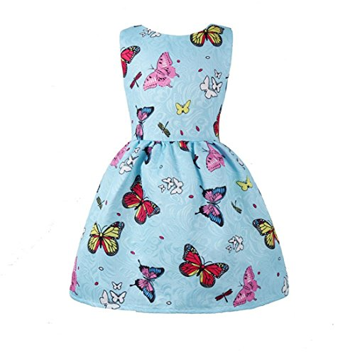 Little Butterfly Cotton Princess Baby Dresses Summer Dress Thombase Toddler Flower Girls Swing Party Blue for Floral wUBq1qdx