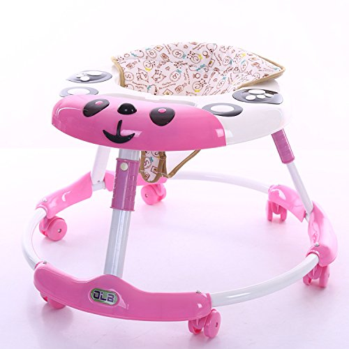 Baby Walker with Wheels Multi-Function Child Anti-Rollover One-Touch Folding Baby Walker for Girls Boys (Black)(Pink)