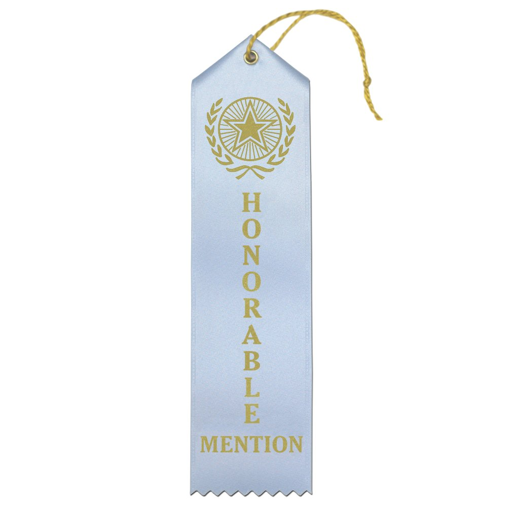 Honorable Mention Premium Award Ribbons with Card & String (Light Blue) - 25 Count Value Bundle - Metallic Gold foil Print – Made in the USA