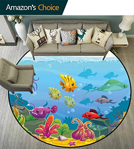 Aquarium Round Rug Bathroom,Funny Cartoon Style Underwater Scenery with Various Animals and Treasure Chest for Hallway,Multicolor,D-43