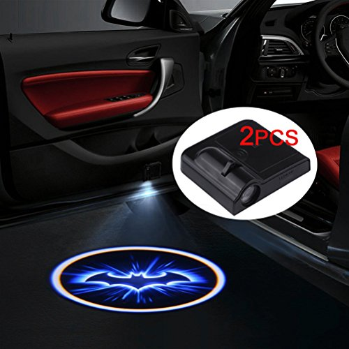 Sunsbell Bat Door Light Wireless Car Door LED Projector Light Battery Powered Courtesy Welcome Logo Shadow Ghost Light - 2pcs (Black)]()