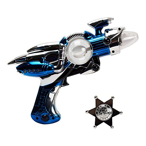 Galactic 5-Piece Bundle with Outer Space Light-Up Toy Ray Gun and Clip-On Silver-Tone Plastic Badge for Dress Up and Imaginative Play (Batteries Included) by Imprints