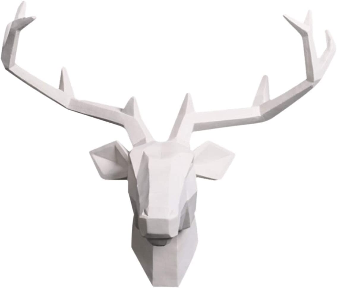 YJ Home Deer Head Wall Mounted - White Deer Head Sculpture,Stag Head Wall Decor (Large, White Deer 1) …