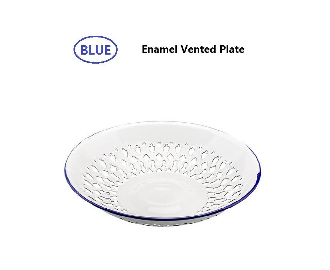 SHUEHO Vintage Look Enamel Vented Self-draining Bread Bowl Plate Rolls Fruit Bowl, Enamelware Colander Stamped Metal White, Blue Edge Country Primitive Kitchen Decoration