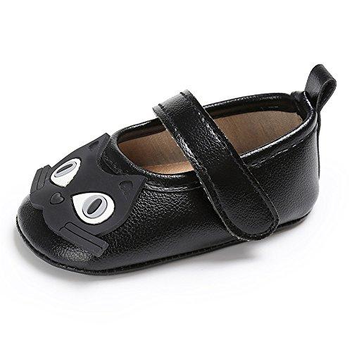 Estamico,zapatos de ballet de cuero suave de dibujos animados de las niñas de niño negro
