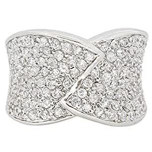 Giro Woman's Alloy Sliver Stone Ring - G0073-18 mm