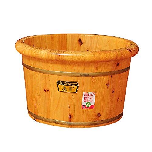 ZJⓇ Foot tub Foot Tub - High Quality Wood Foam Foot Bucket Round Handmade Adult Children's Foot Bath Barrel Size -40x26cm ** (Wood Bath Bucket)