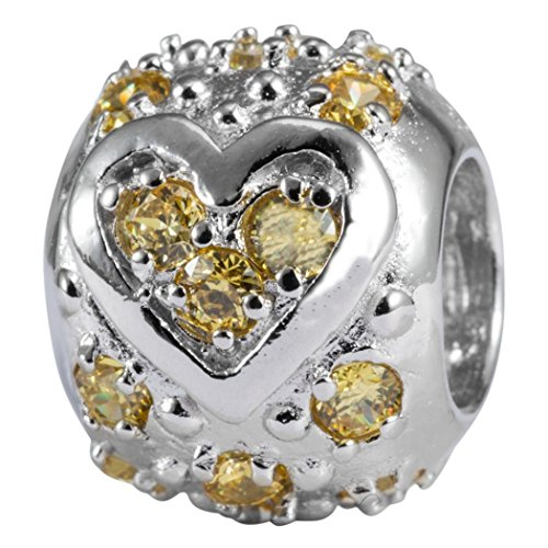 (Sterling Silver Heart Charm November Birthstone Bead Topaz Swarovski Crystal fits All Charm Bracelet Women Girls Mother's Gifts EC531)