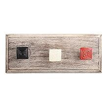 Red Square Metal Wooden Wall Hooks Coat Key Cloth Hanging Hanger WHK-1114-MK-153