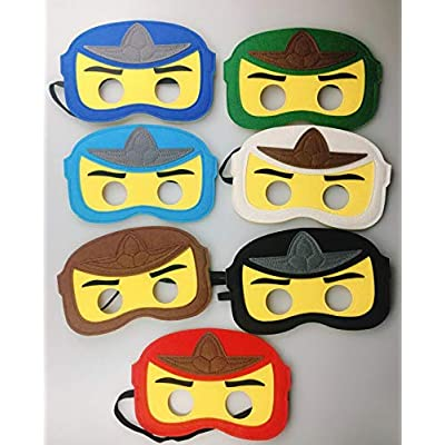8pc Ninja Ninjago Felt Mask Kids Birthday Gift Cosplay Party Supplies Party Masks for Children: Toys & Games