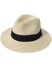 MAIPOETYRY Women Wide Brim Straw Panama Roll up Hat Fedora Beach Sun Hat 7fbca1f7047f