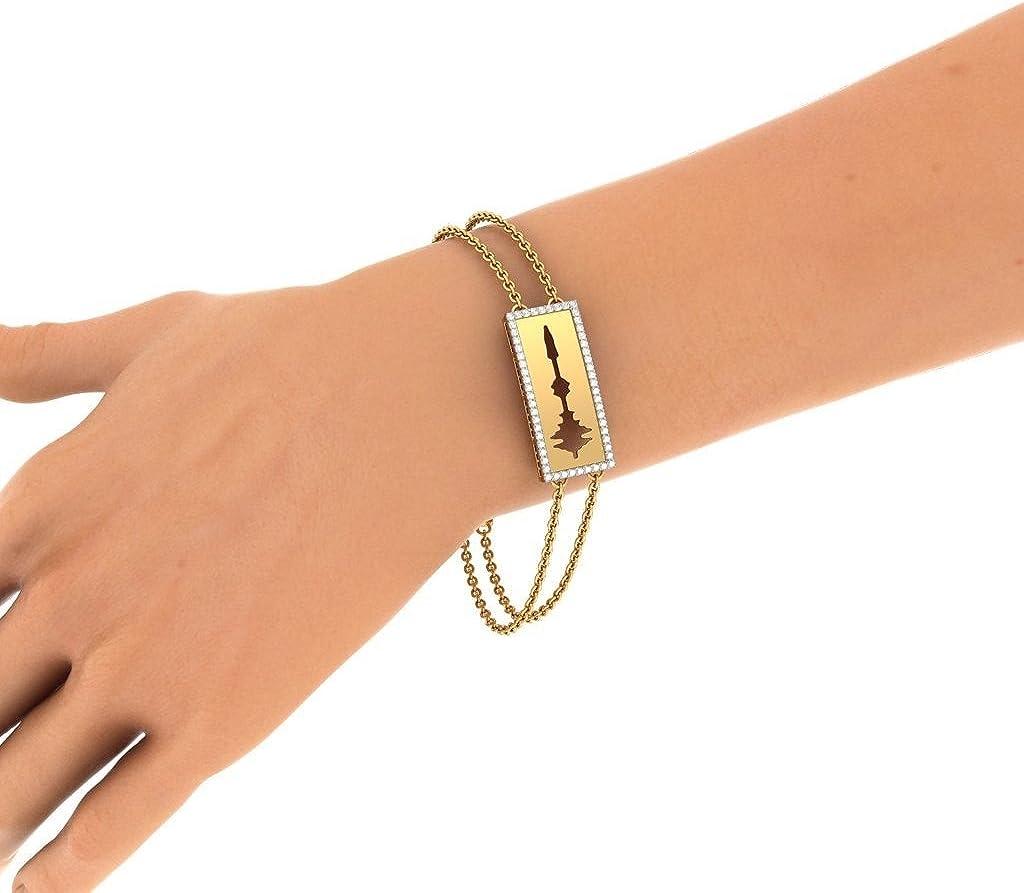 IJ  SI identification-bracelets Size 0.336 cttw Round-Cut-Diamond HallMarked 7.75 inches 14K Yellow Gold