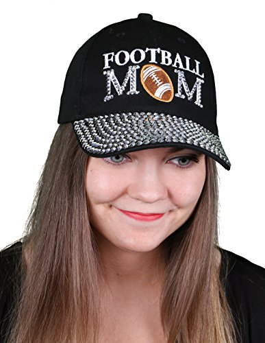 H-210-FB06 Football Mom Baseball Cap - Black (Rhinestone Baseball Hat Black)