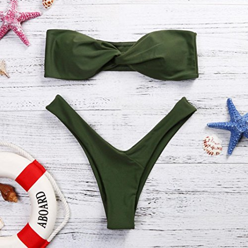 Scollato Donne Mutande feiXIANG Verde da Fascia Imbottito Costumi Costume bagno del da Set up Mare Push Swimwear Benda Bikini bagno punto Reggiseno Stampa d'onda Balneare A Sexy Bendare gtAWq51pxw