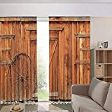 iPrint Blackout Curtains for Kids Room Noise Reducing Thermal Insulated Window Curtain,Rustic Weathered Wooden Wall Door Wagon Wheel 108Wx95L Inch