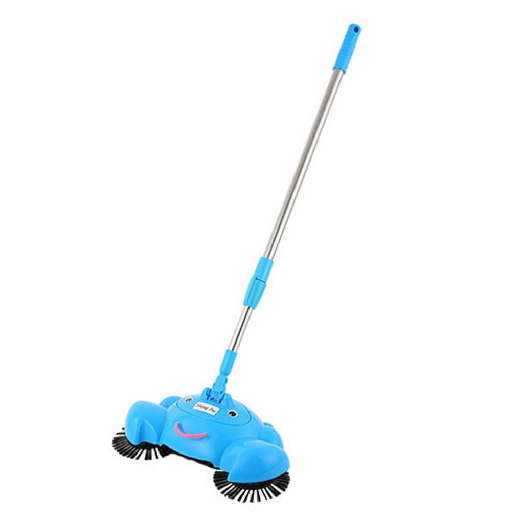 Voberry 1PC 360 Rotary Broom Home Use Magic Manual Telescopic Floor Dust Sweeper (Blue)
