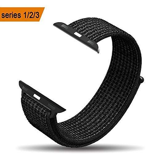 amBand Compatible for Apple Watch Sport Loop Band 42mm, Lightweight Breathable Nylon Replacement Band for Apple Watch Series 1, Series 2, Series 3, Sport, Edition-Black White