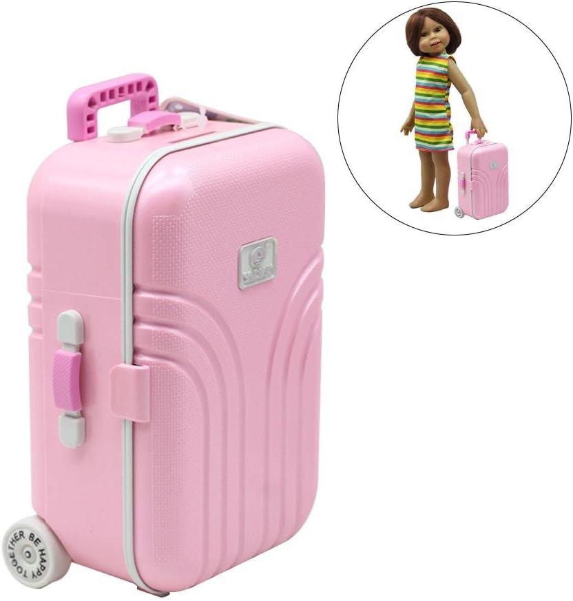 Jannyshop Maletas de Viaje para Muñecas de Juguetes Muñeca de Viaje Llevar en la Maleta de Juguete para Doll House