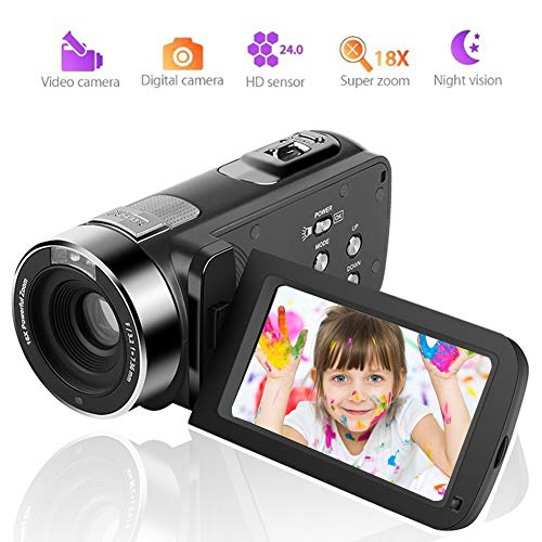Camcorder Digital Camera Full HD 1080p 18X Digital Zoom Night Vision Pause Function with 3.0″ LCD and 270 Degree Rotation Screen with Remote Controller