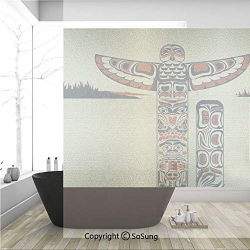 3D Decorative Privacy Window Films,Illustration of North American Totem Pole Ancient Spirit Native Artsy,No-Glue Self Static Cling Glass Film for Home Bedroom Bathroom Kitchen Office 36x36 Inch