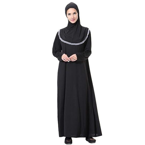Challeng Vestidos Largos de Moda Vintage de Mujer Casual Casual sólido sólido de Manga Larga Bata