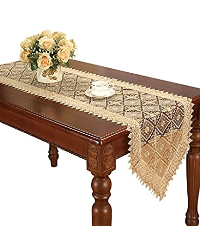 Simhomsen Super Long Beige Lace Table Runner Embroidered 16 By 144 Inch