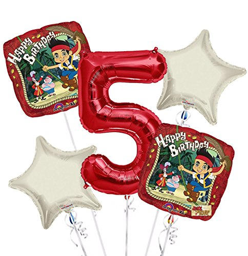 jake and the Neverland Pirates Balloon Bouquet 5th Birthday 5 pcs - Party Supplies (Pirate Balloon Bouquet)